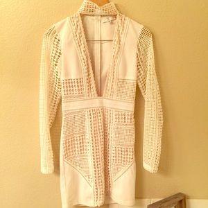 MISSGUIDED white bodycon choker dress